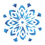 Blue watercolor snowflake Royalty Free Stock Image