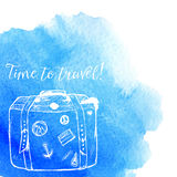 Blue watercolor splash with white sketched Royalty Free Stock Images