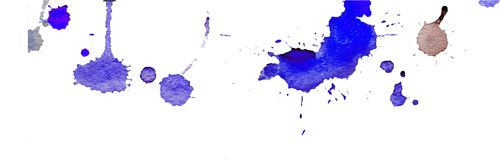 Blue watercolor splashes and blots on white background. Ink painting. Hand drawn illustration. Abstract watercolor artwork. Stock Photography