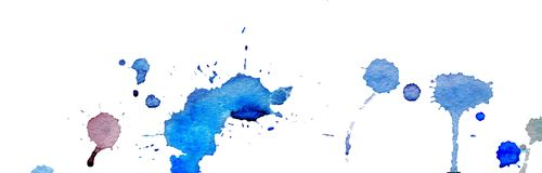 Blue watercolor splashes and blots on white background. Ink painting. Hand drawn illustration. Abstract watercolor artwork. royalty free illustration