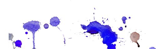 Blue watercolor splashes and blots on white background. Ink painting. Hand drawn illustration. Abstract watercolor artwork. Stock Photo