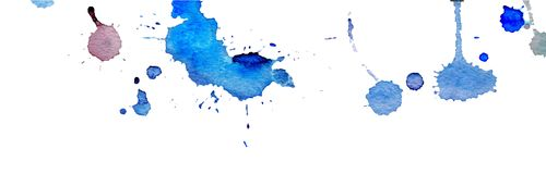 Blue watercolor splashes and blots on white background. Ink painting. Hand drawn illustration. Abstract watercolor artwork. vector illustration