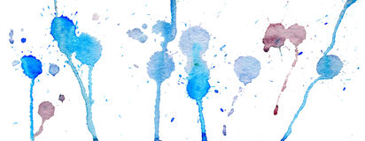Blue watercolor splashes and blots on white background. Ink painting. Hand drawn illustration. Abstract watercolour artwork. Blue watercolor splashes and blots vector illustration
