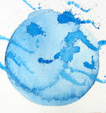 Blue watercolor splatter Stock Photo