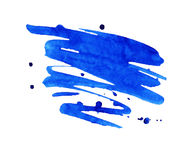 Blue watercolor stain with aquarelle paint blotch. Vivid blue watercolor or ink stain with aquarelle paint blotch royalty free illustration