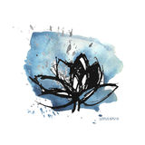 Blue watercolor stains and lotus Stock Photo