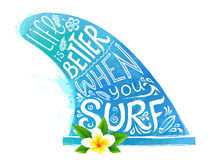 Blue watercolor style vector surfing fin silhouette with white hand drawn lettering and realistic Bali flower Royalty Free Stock Image