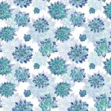 Blue Watercolor Succulent Pattern Stock Photos