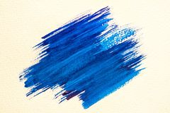 Brush stroke. Blue watercolor texture paint stain shining brush stroke Royalty Free Stock Images