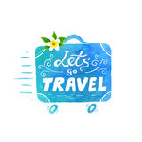 Blue watercolor texture vector running suitcase silhouette with white lettering - Lets go Travel and Bali flower Stock Images