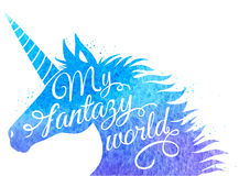 Blue watercolor unicorn Royalty Free Stock Photography