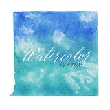 Blue watercolor vector background isolated. Blue square watercolor vector background stock illustration