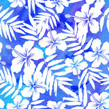 Blue watercolor vector hibiscus seamless pattern Royalty Free Stock Photography