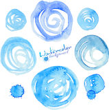 Blue watercolor vector splashes, circles and Royalty Free Stock Images