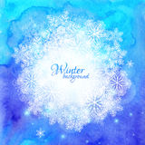 Blue watercolor winter background with snowflakes Stock Photography