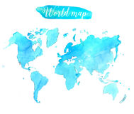 Blue watercolor world map. Vector artistic Royalty Free Stock Photos