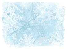 Blue watercolors & snowflakes. Blue grunge watercolors background, flowers & snowflakes Stock Image