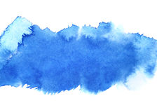 Blue watercolour stripe. Abstract background. Space for your text Stock Photos
