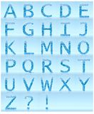 Blue Waterdrops alphabet letters isolated on light blue background. 3D Illustration Stock Photos