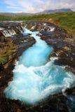 Blue waterfall Brúarfoss Royalty Free Stock Image
