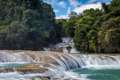 The blue waterfall in Chiapas Stock Photography