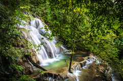 The blue waterfall in Chiapas Stock Image