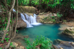 Blue waterfall in Huay Mae Kamin Kanjanaburi Thailand Royalty Free Stock Image