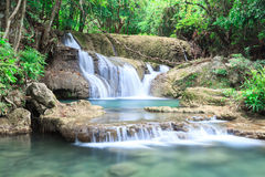 Blue waterfall in Huay Mae Kamin Kanjanaburi Thailand Stock Photos