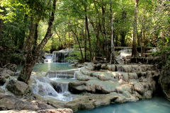 A blue waterfall in jungle, Thailand Stock Photo