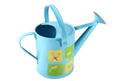 Blue watering can. A blue watering can with frogs on it isolated on white background Royalty Free Stock Photography