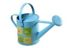 Blue watering can 2. A blue watering can with frogs on it Royalty Free Stock Image