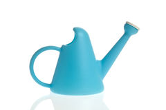 Blue watering can. Isolated on white background Stock Photography