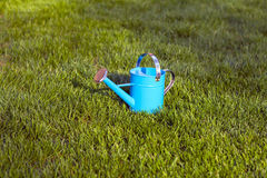 Blue Watering Can Royalty Free Stock Photography