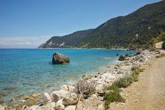 Blue Waters of the Agios Nikitas Beach Stock Image