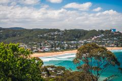 The blue waters of Avoca Beach. Avoca Beach, Central Coast, Australia - The blue waters of Avoca Beach - Panoramic view from above in between trees on a Stock Photos