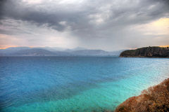 Blue waters and clouds in Greece Royalty Free Stock Photography