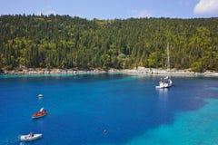 Blue waters of Foki Fiskardo Beach, Kefalonia, Greece Royalty Free Stock Photos