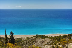 Blue Waters of Gialos Beach, Lefkada Stock Images