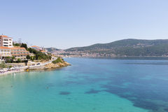 Blue waters and hotel unit on the island of Samos, Greece Royalty Free Stock Photography