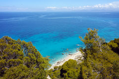Blue waters of Kokkinos Vrachos Beach, Lefkada, Greece Stock Photo