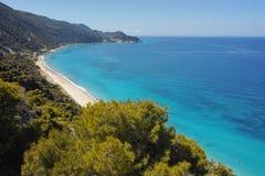 Blue Waters of Kokkinos Vrachos Beach, Lefkada Stock Image