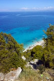 Blue Waters of Kokkinos Vrachos Beach, Lefkada Stock Photography