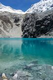 blue waters of Lake 69, at Huascaran National Park, Peruvian Andes