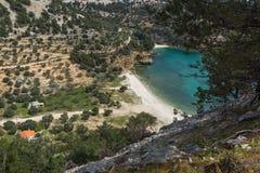 Blue waters of Livadi beach, Thassos island, Greece Stock Image