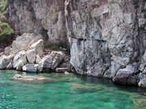 Blue waters of Mediterranean. Crystal clear aqua blue water at a rocky Mediterranean shoreline stock photos