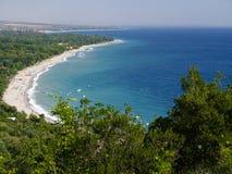 Blue waters of Mediterranean sea in Greece Royalty Free Stock Photo