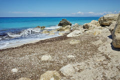 Blue Waters of Megali Petra Beach, Lefkada, Ionian Islands Stock Image