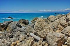 Blue Waters of Megali Petra Beach, Lefkada, Ionian Islands Stock Photos