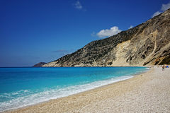 Blue waters of Myrtos Beach, Kefalonia,  Greece Royalty Free Stock Image