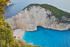 Blue waters of Navagio Shipwreck beach, Zakynthos Stock Images